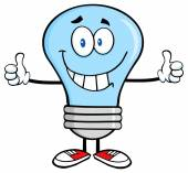 Light Bulb Giving A Double Thumbs Up — Stock Vector