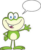 Frog Greeting With Speech Bubble. — Stockvektor