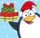 Penguin  Holding Up A Stack Of Gifts — Stock Vector