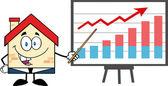 Business House with Progressive Arrow — Stock Vector