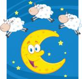 Counting Sheep Over A Moon. — Stock Vector