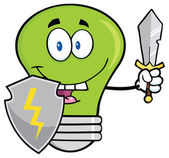 Green Light Bulb With Shield And Sword — Stock Vector