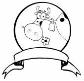 Cartoon Logo Mascot - Farm Cow — Stock Vector