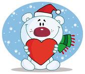 Christmas Polar Bear with Heart — Stock Vector