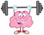 Happy brain lyfta vikter — Stockvektor