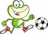 Groda spelar med fotboll. — Stockvektor