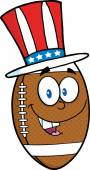 American Football Ball with  Patriotic Hat — Stock Vector
