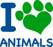 I Love Animals With Heart Paw — Vettoriale Stock