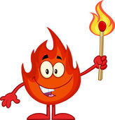 Cartone animato fuoco felice — Vettoriale Stock
