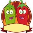 Mexican Chili Peppers Label — Stock Vector #61083911