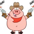 Cowboy Pig Shooting With Two Guns. — Stock Vector #61086355