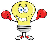Smiling Light Bulb with Boxing Gloves — Vecteur