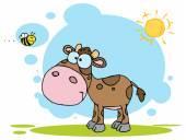 Cute Cow Seen Flying Bee — Stock Vector