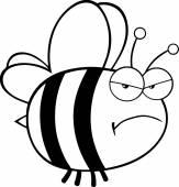 Caractère d'abeilles en colère — Vecteur