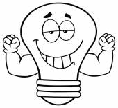 Light Bulb  With Muscle Arms — Stock Vector