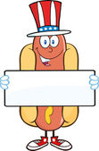 Hot Dog  Holding A Banner. — Stock Vector