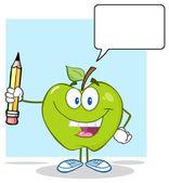 Kalem tutan yeşil elma — Stok Vektör