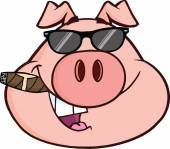Businessman Pig Head With Sunglasses And Cigar. — Stock Vector
