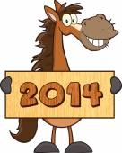 Horse with  Banner 2014 new year — Stock Vector