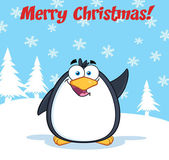 Merry Christmas Greeting With Penguin — Stock Vector