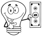 Light Bulb Showing A Dollar Bill — Stock Vector