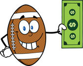American Football Ball  with  Dollar Bill — Stock Vector