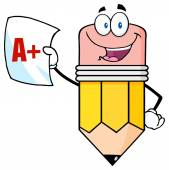 Pencil Holding An A Plus Report Card — Stock Vector