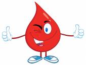 Blood Drop with  Thumbs Up. — Stockvector