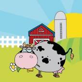 Cartoon Character Cow on Farm — Stock Vector