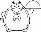Waiter Penguin Serving Food — Vecteur