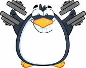 Penguin Training With Dumbbells — Stock Vector