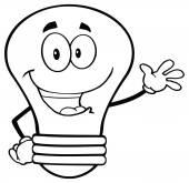 Light Bulb Cartoon  Waving — Stock Vector
