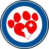 Veterinary Love Paw Print — Stock Vector