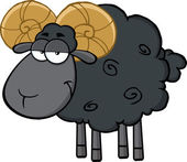 Black Ram Sheep Character — Stock Vector