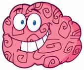 Happy Brain Character — Stock Vector