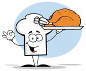 Cartoon Chefs Hat With Turkey — Stock Vector