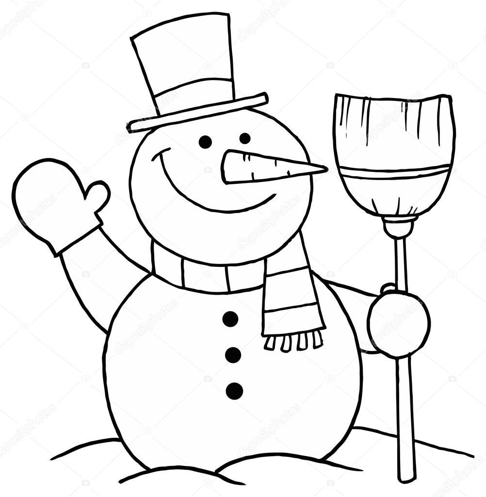 Esquisse d'un bonhomme de neige avec un balai — Image vectorielle ...
