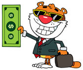 Happy Tiger Keeps Dollar — Stock Vector