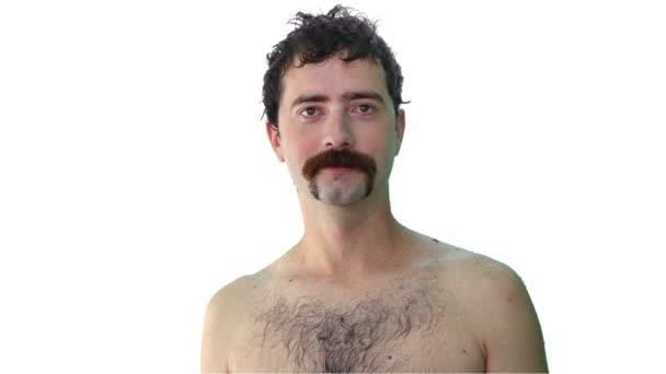 Vello facial, barba, bigote cambiando — Vídeo de stock