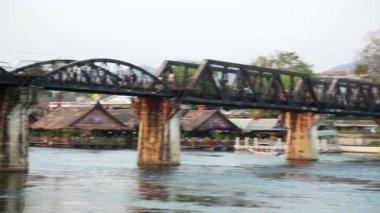 Historical train at bridge — Stock Video
