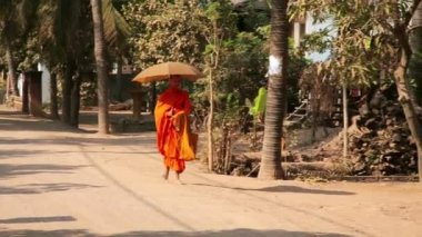 Buddhist monk walking on countryside — Stockvideo