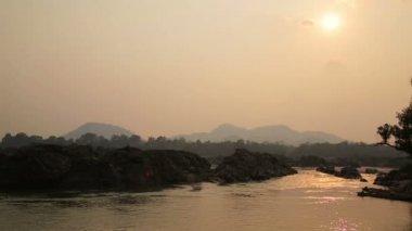 Lao cambodia border mekong river — Stock Video