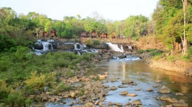 Waterfall near Tad Lo Village — Stock Video