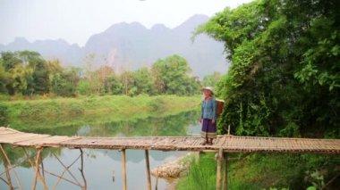 Woman crossing river on bamboo bridge — Stock Video