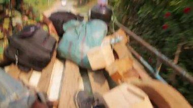 Passenger journey roof top of bus — Stock Video