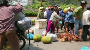 Carrying market with motorbike — Vídeo Stock