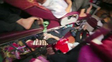 Sleeping bus interior — Stock Video