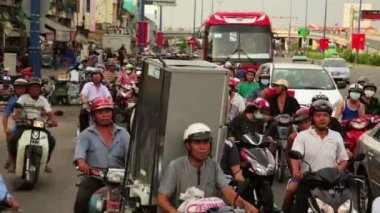 Crazy motorbikes traffic, timelapse — Stock Video