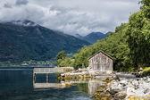 Boathouse on Storfjord — Stock Photo