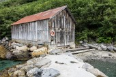 Boathouse on Storfjord — Stock Photo